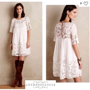 Anthropologie Off-White Lace Magnolia Dress